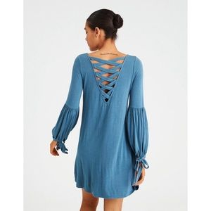 AMERICAN EAGLE TEAL LACE UP PEASANT DRESS SIZE MEDIUM